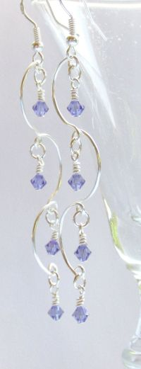 Chandelier Earrings, Tanzanite Beaded Earrings, Purple