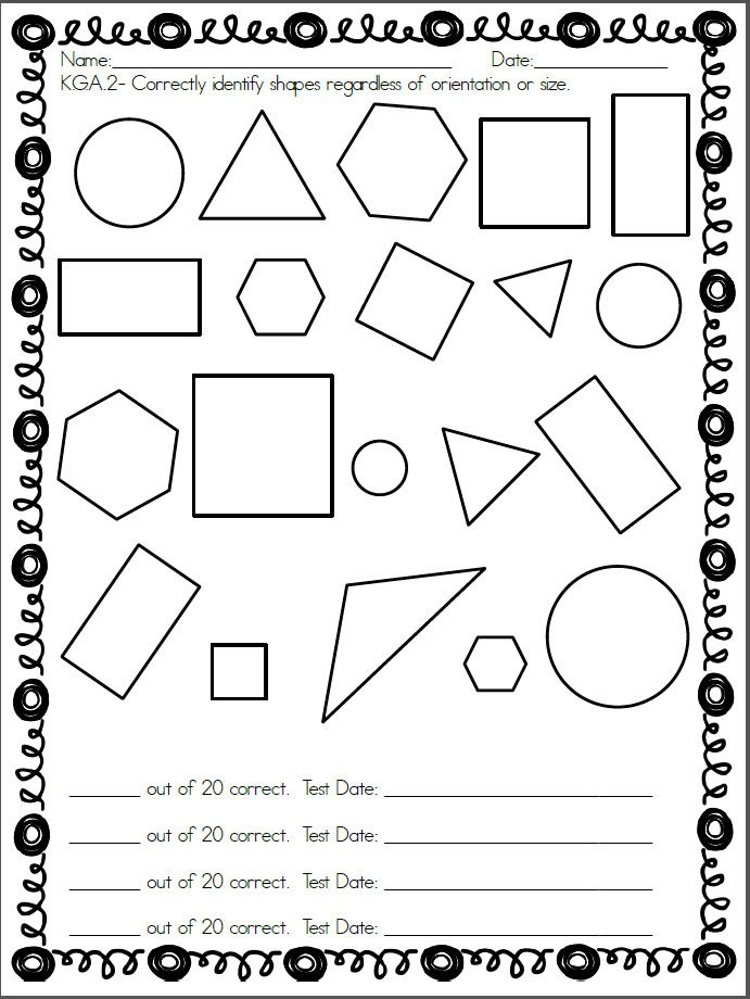 Kindergarten shapes assessment. Common Core standard K.G.A
