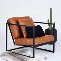 Modern Designer Stanley Armchair - Black Metal Frame ...