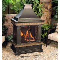 Sunjoy Amherst 35 in. Wood-Burning Outdoor Fireplace