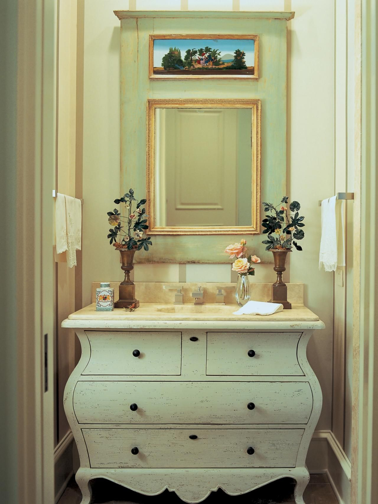 A Swedish style dresser is refurbished as a vanity with a