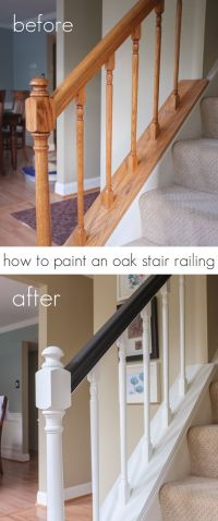 How to paint an oak stair railing black and white ...
