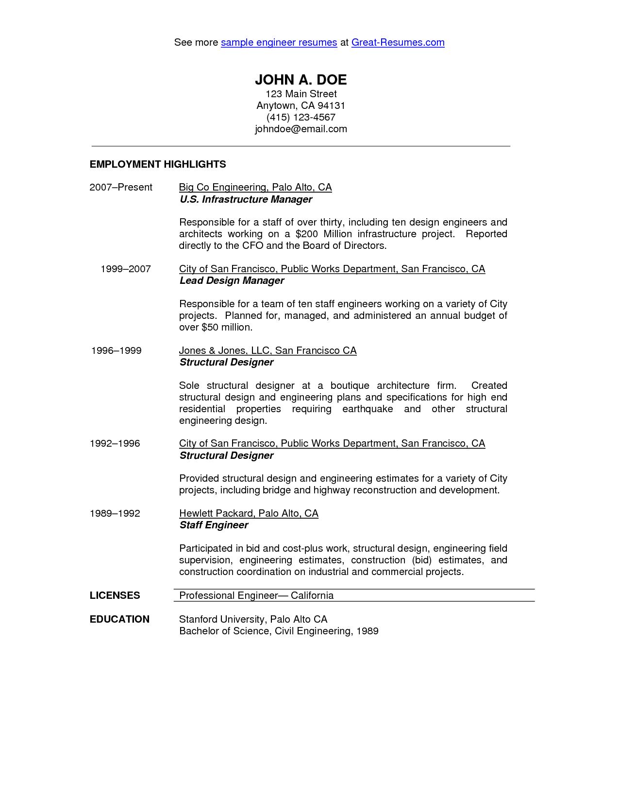 Civil Engineer Resume Sample Resumecareer Info Civil