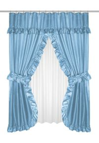 Ruffled Double Swag Shower Curtain with Valance & Tie ...