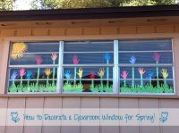 How to Decorate a Classroom Window for Spring. Would work