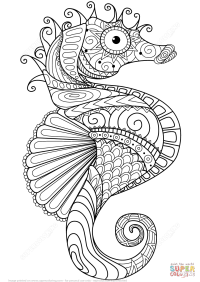 Caballito de Mar Zentangle | Super Coloring | Mandalas ...