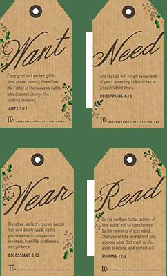 Printable Tags With Bible Verses For 4 Christmas Gifts