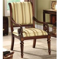 Baldwinville Accent Chair Hand carved wood Padded fabric ...