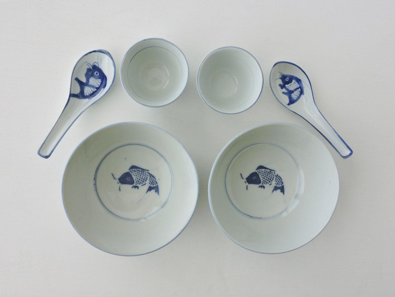 Vintage Asian Soup Bowls, Rice Bowls, Sake Cups, Spoons