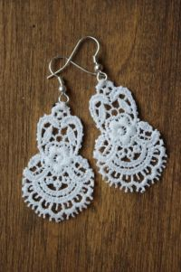 Lace Earrings   Lace earrings, DIY tutorial and Craft jewelry