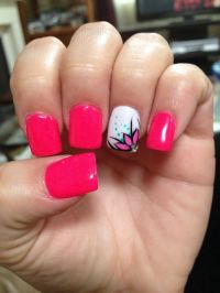 Hot pink nails with flower design | Nail Polish ...