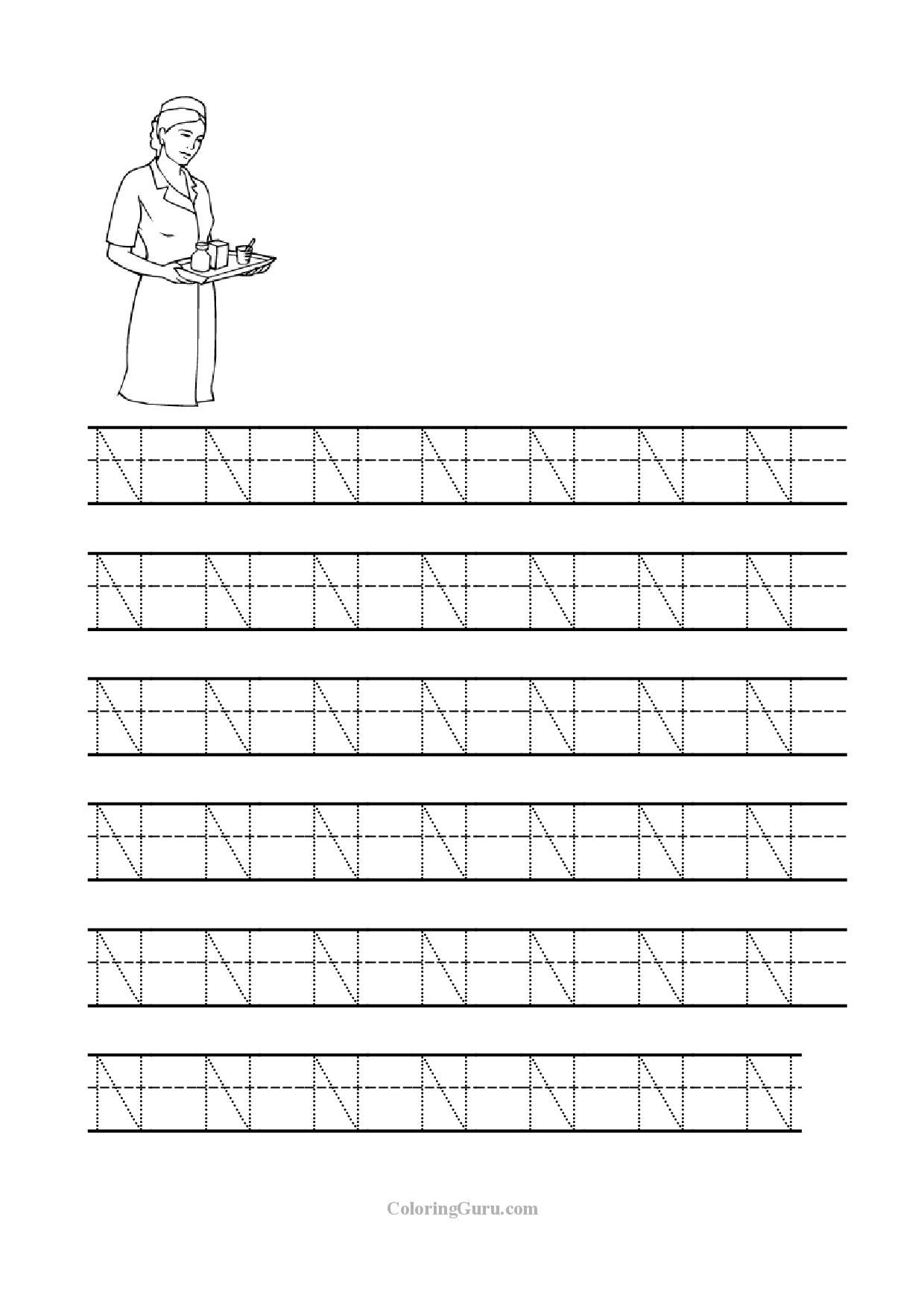 Free Printable Tracing Letter N Worksheets For Preschool