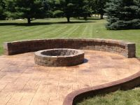 Stamped Concrete Patio with Fire Pit and Sitting Wall ...