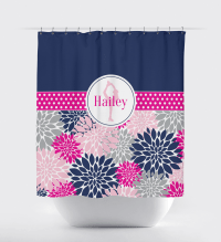 Modern Flower Shower Curtain with Figure Skater
