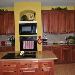 Yellow Kitchen Appliances Stand Alone Cabinets Walls With Dark I Don 39t Really
