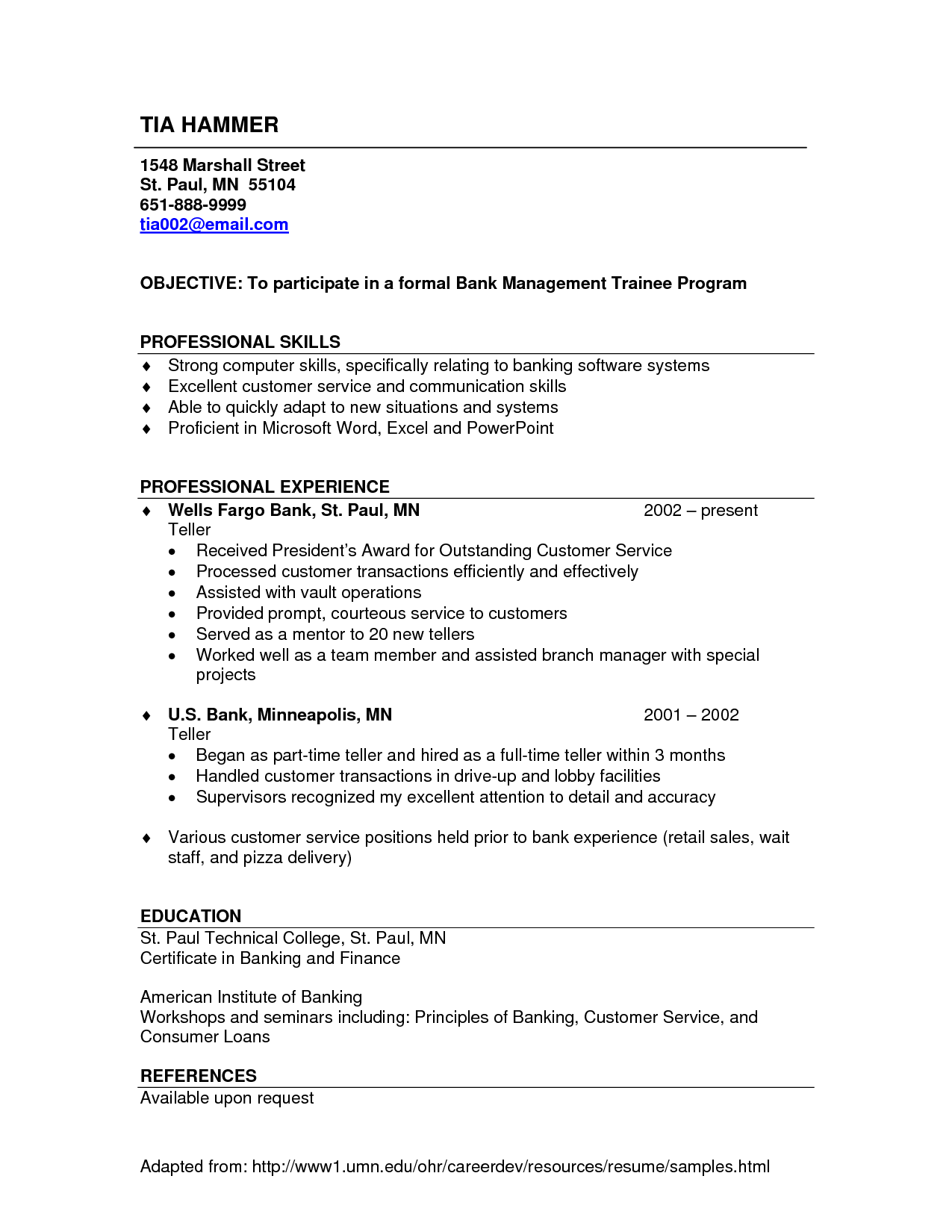 Sample Bank Teller Resume No Experience Resumecareer