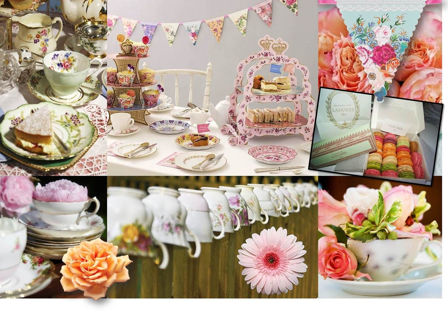 Tea Monatge Tea Party Themed Wedding