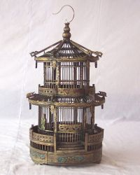 Gorgeous Hand carved and painted oriental style bird cage ...