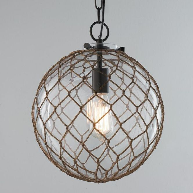 Nautical Rope Pendant Globe This Wred Bubble Glass Gives A Modern Spin On