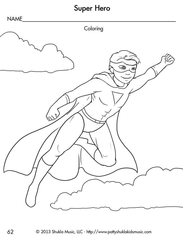 Boy Superhero Coloring Pages Cool preschool work sheets