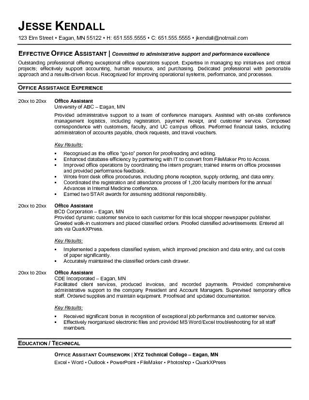 Sample Office Resume Best Office Assistant Resume Example