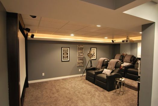 Favvvyyy Excellent Bat Finishing Ideas For Theater Room With Grey Wall Paint And Cozy Seating