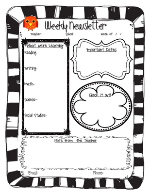 The Go To Teacher: Owl Newsletter & Welcome Brochure