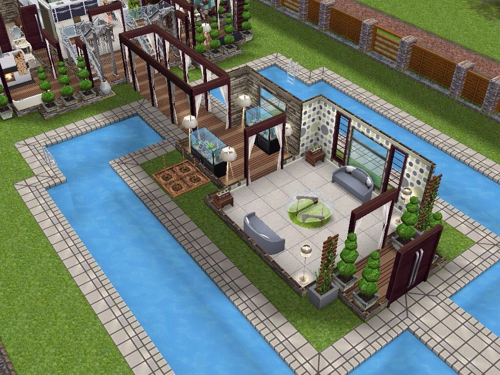 Sims #Freeplay Cool Mansion Love The Center Pool Area Sims