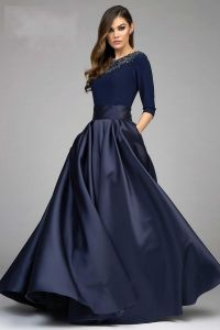 2017 Fashion Ball Gown Dresses Evening Wear Navy Blue Long ...
