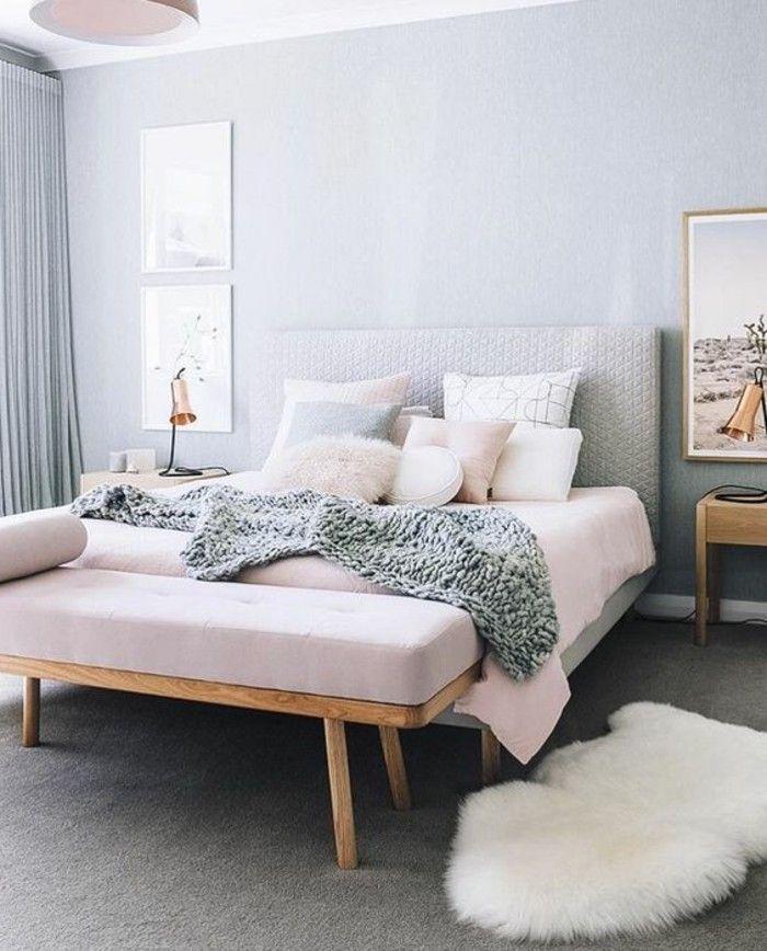 Ides chambre  coucher design en 54 images sur Archzinefr  Fourrure blanche Rose pale et