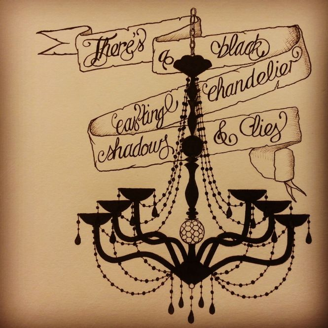 Biffy Clyro Black Chandelier Inspired Tattoo Style Artwork Art Design Scroll
