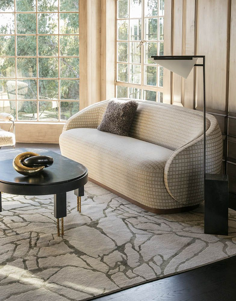 Kelly Wearstler Wetherly Sofa, Forma Floor Lamp, Melange