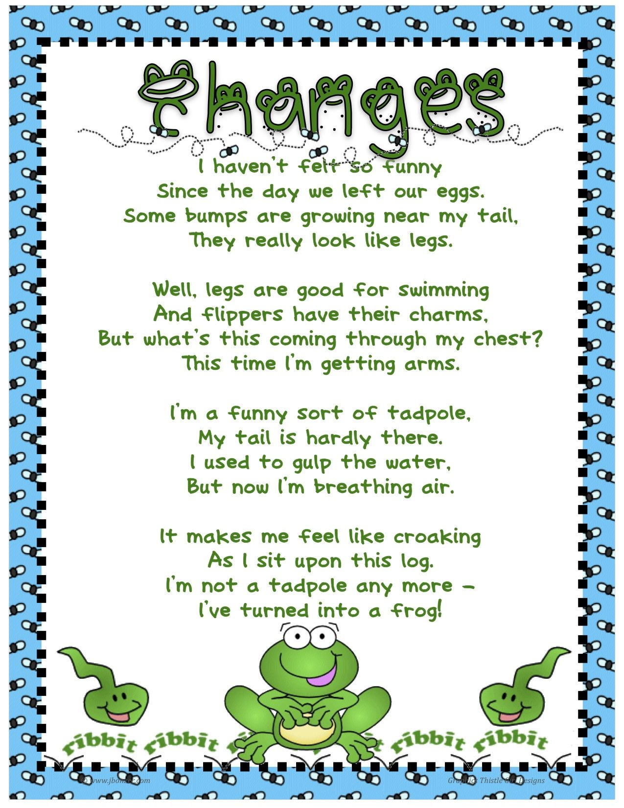 Frog Poem For Kindergarten