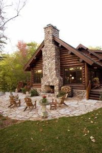 Log cabin with outdoor fireplace | Rustic Western Decor ...