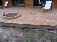deck with built in fire pit | Get Out a Little (Outside ...