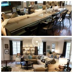 Dining Table And Sofa In Living Room Leather Cleaners With Built Behind Couch Hgtv Folio