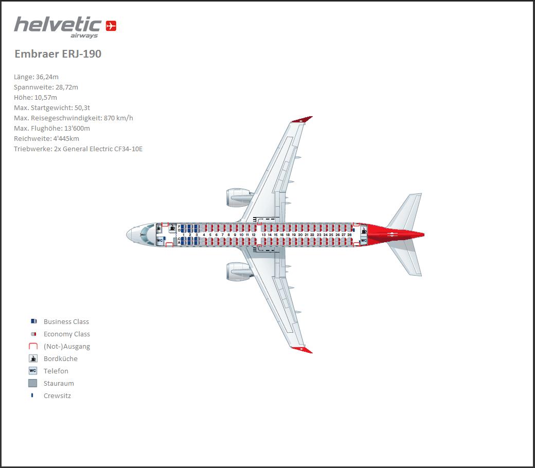 Seat Map Helvetic Airways Erj 190 910