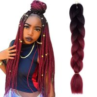 "24"" Black/Wine Red Jumbo Braids Hair Ombre Synthetic ..."