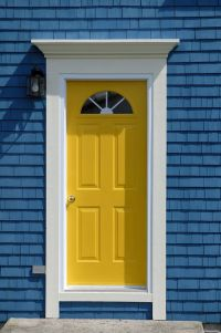 Simple, bright yellow front door. Get the look with Dunn ...