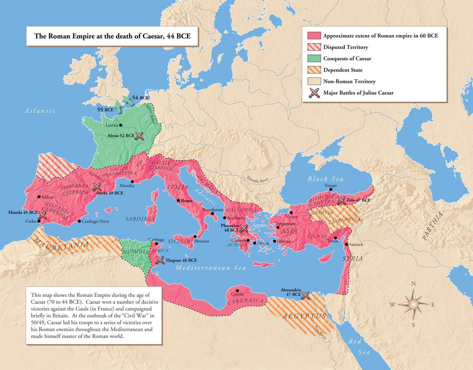 Julius Caesar S Conquest Of Gaul Map Of Empire Around 50 Bc
