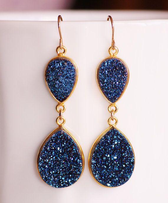 Genuine Shire Navy Blue Druzy Gemstone Earrings Chandelier Earring 14k Gold Bezel Drusy