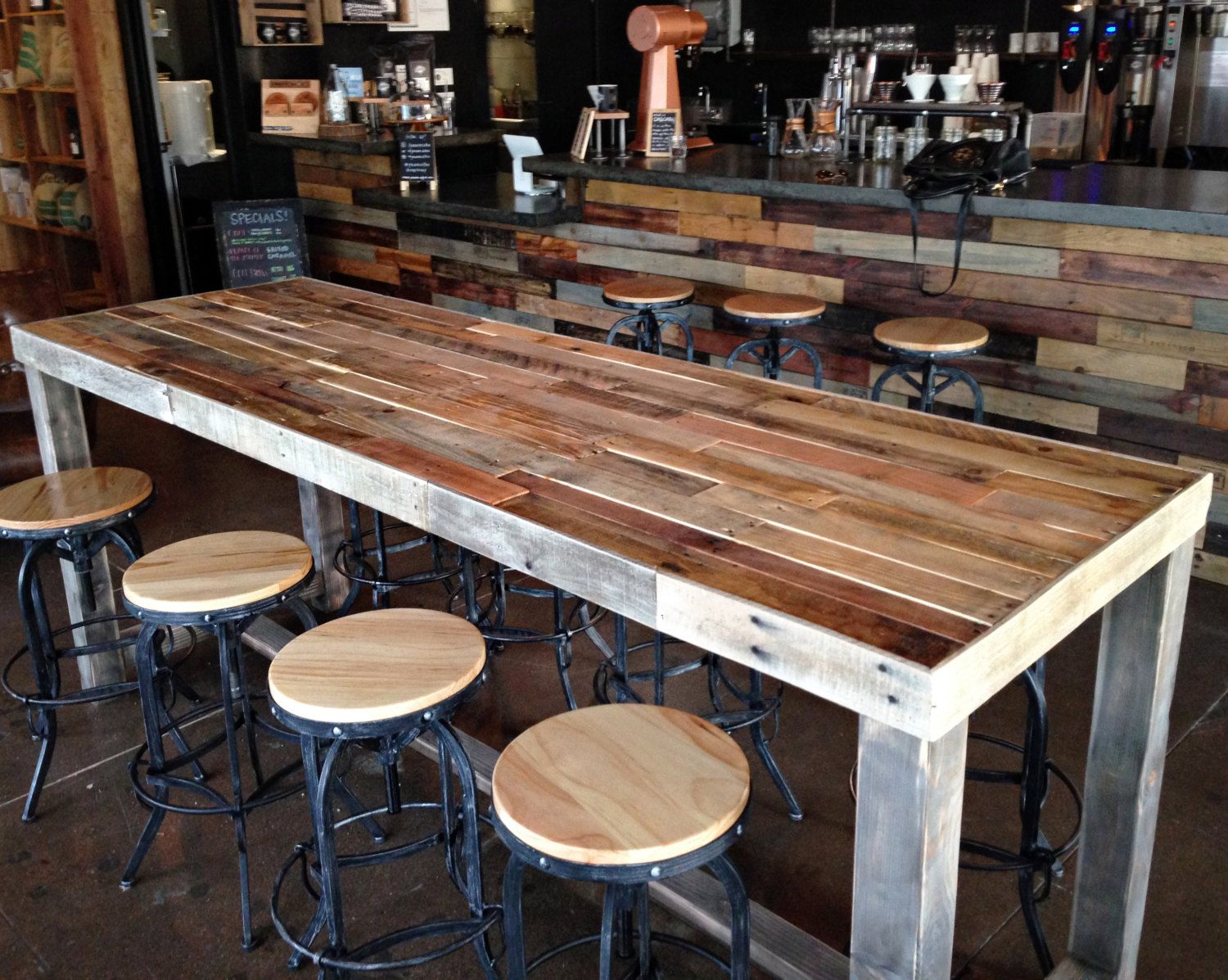 long sofa bar table slipcover for double reclining reclaimed wood restaurant counter community by