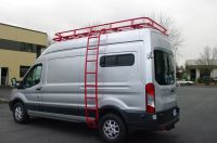 Aluminess roof rack and ladder in red on this Van ...