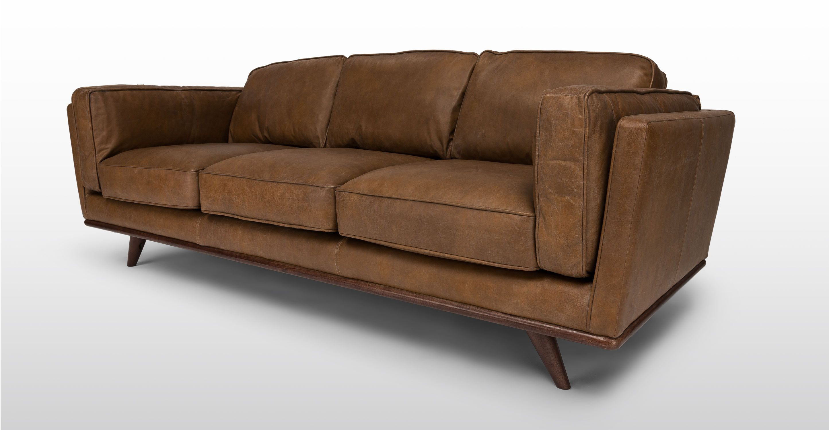 tan leather sofa cheap sleeper sets brown 3 seater article timber mid