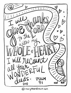 Printable Bible coloring page Psalm 9:1 by Marydean Draws