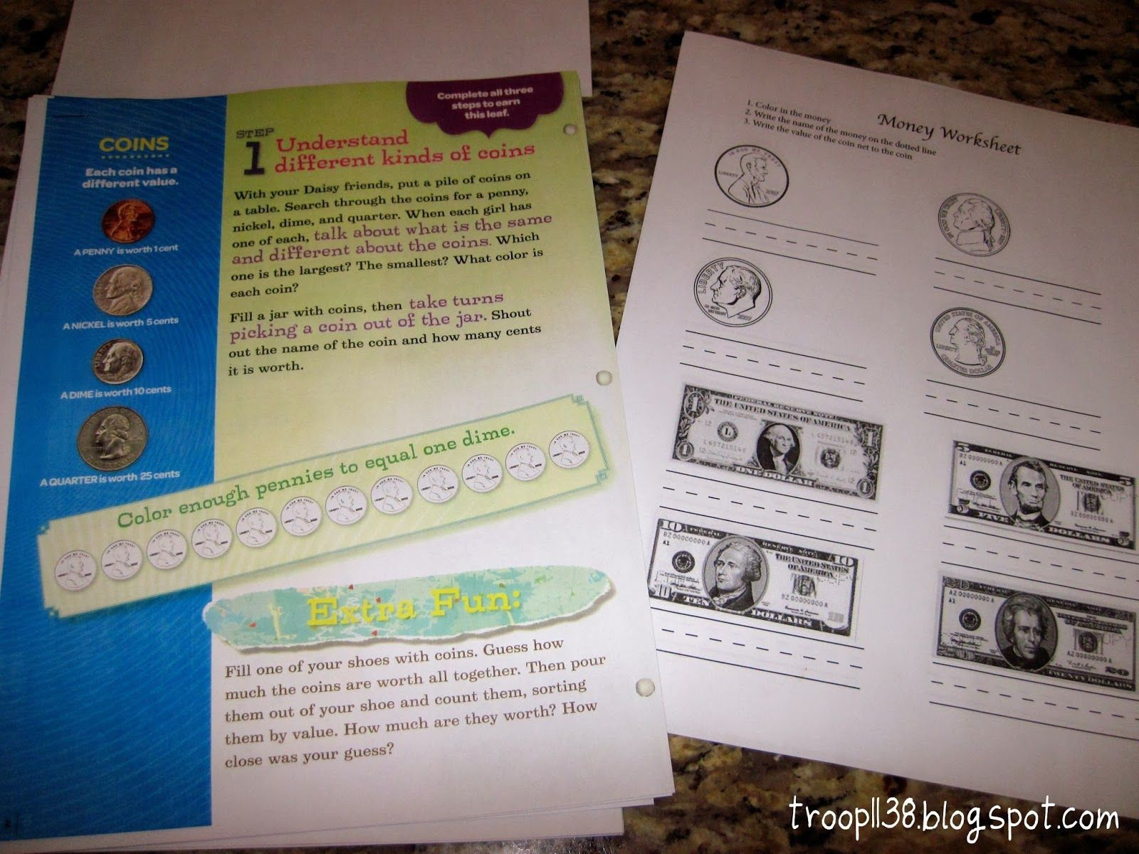 Has Link To Money Worksheet Girl Scout Troop Investiture Rededication Amp Money Counts
