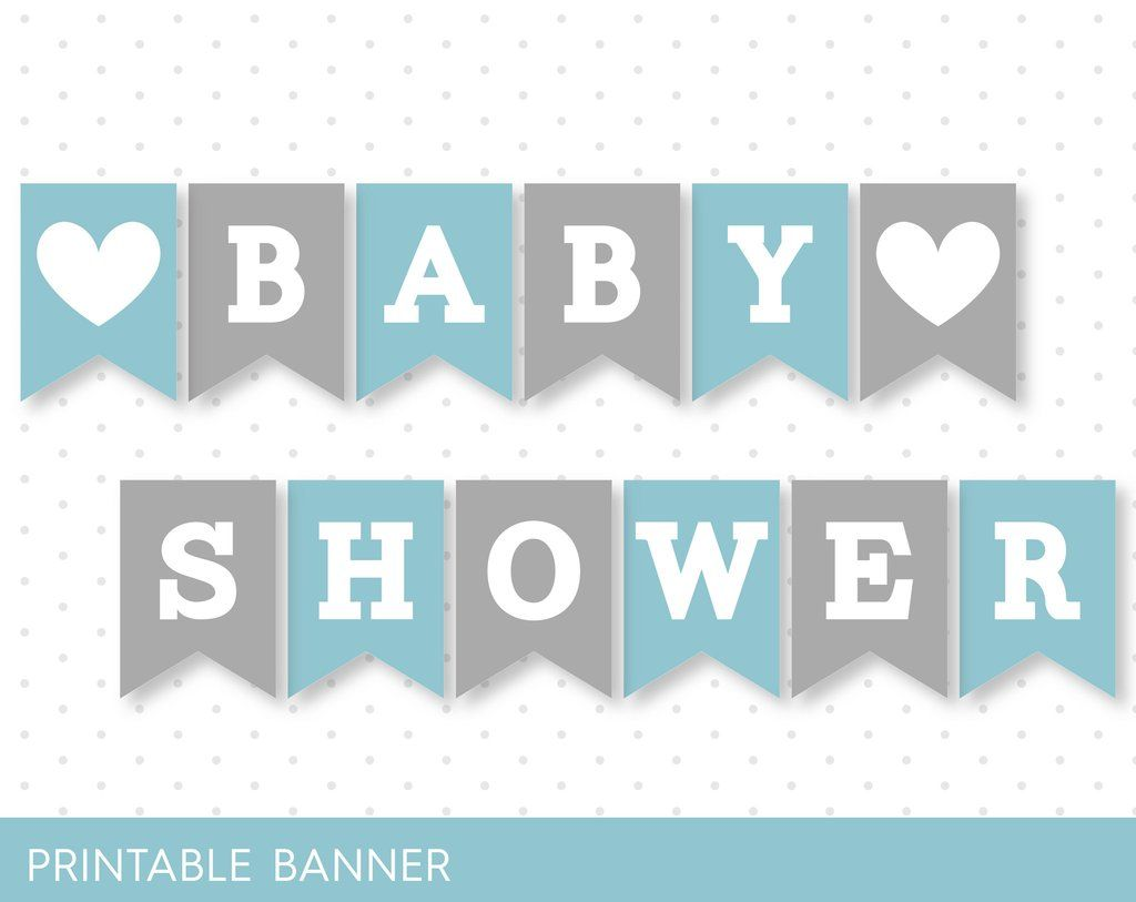 Blue Banner Grey Banner Oh Baby Banner Oh Boy Banner Printable Banner With Letters Baby