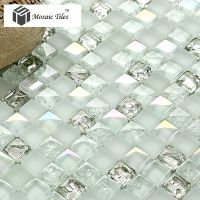 white iridescent mosaics glass silver kitchen backsplash ...