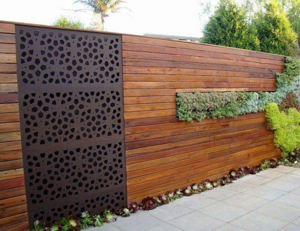 Modern Privacy Screens Wood Metal Combination Succulents Tile