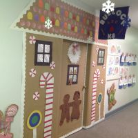 Winter door decorating idea for an elementary school